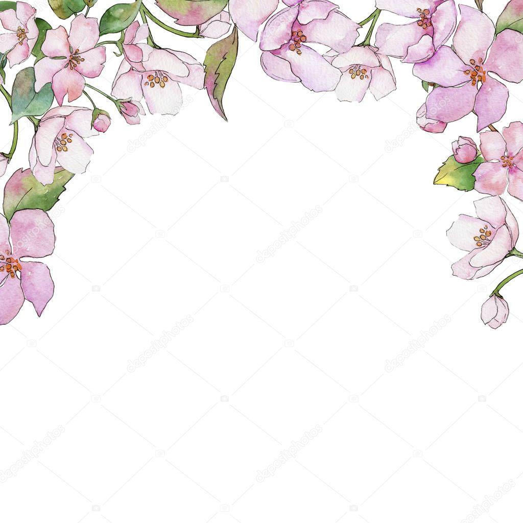 Pink cherry blossoms. Floral botanical flower. Frame border ornament square.