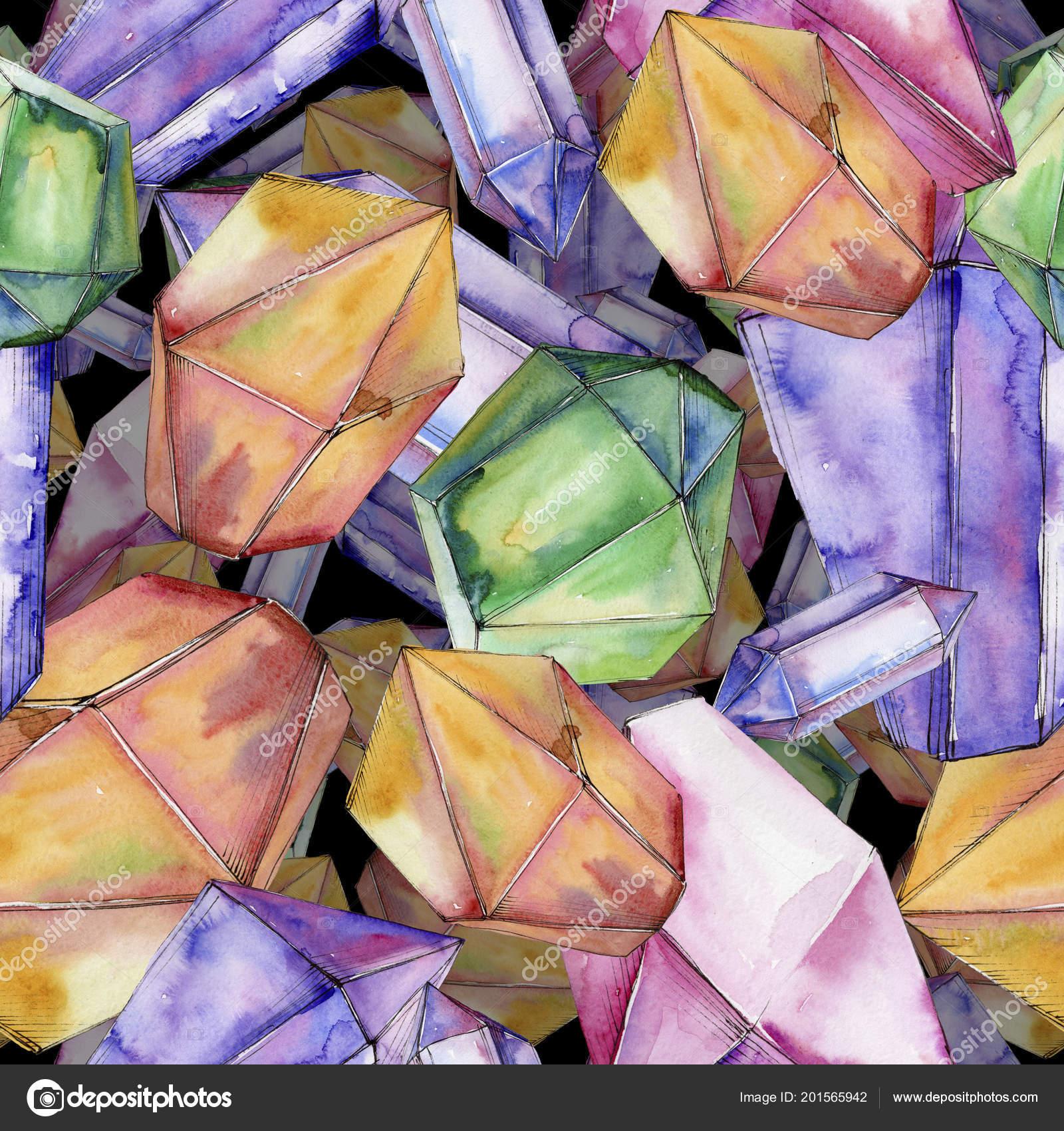 37e45b4c8 Színes gyémánt rock ékszerek ásványi. Varratmentes háttérben minta ...