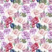 Fotografie Tender pink roses. Floral botanical flower. Seamless background pattern. Fabric wallpaper print texture. Aquarelle wildflower for background, texture, wrapper pattern, frame or border.