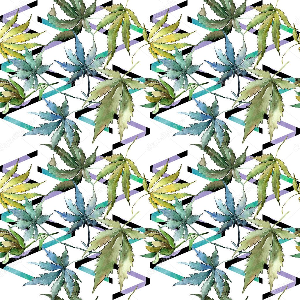 Green cannabis leaves in a watercolor style. Seamless background pattern. Fabric wallpaper print texture. Aquarelle leaf for background, texture, wrapper pattern, frame or border.