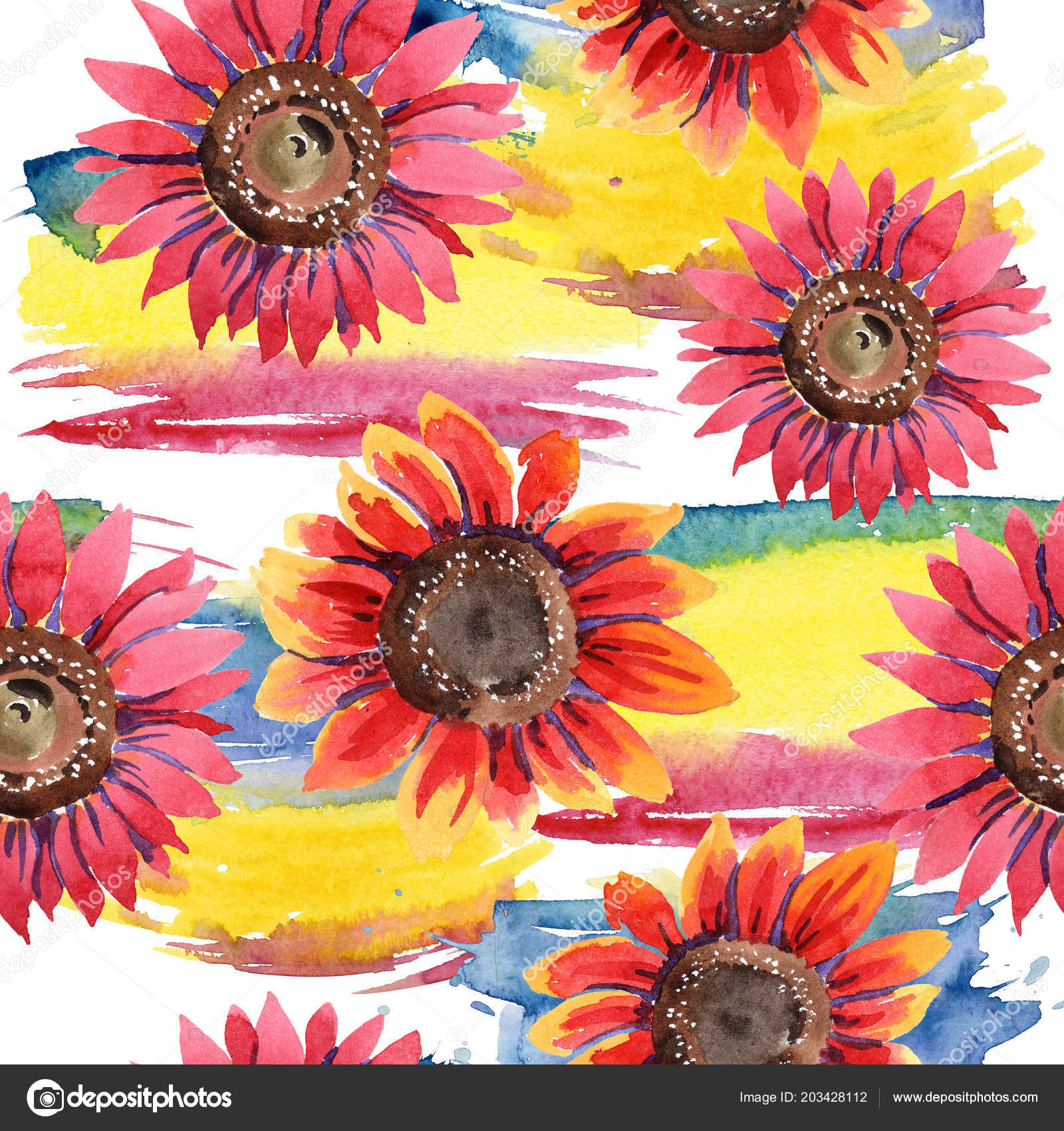 Wildflower Red Sunflower Flower Watercolor Style Seamless