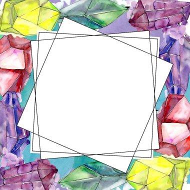 Colorful diamond rock jewelry mineral. Frame border ornament square. Geometric quartz polygon crystal stone mosaic shape amethyst gem.