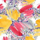 Akvarell színes textúra illusztráció. Akvarell papír splash alakzatok minta rajzot. A háttér textúra, burkoló minta, keret vagy határ absztrakt akvarell