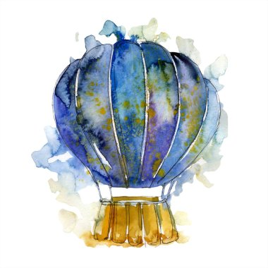 Blue hot air balloon background fly air transport illustration. Isolated illustration element.