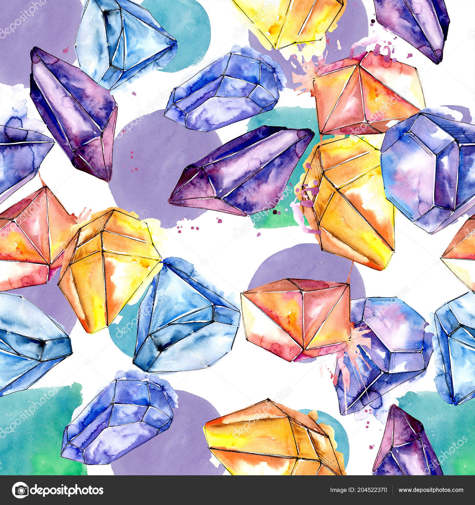 Colorful Diamond Rock Jewelry Mineral Seamless Background