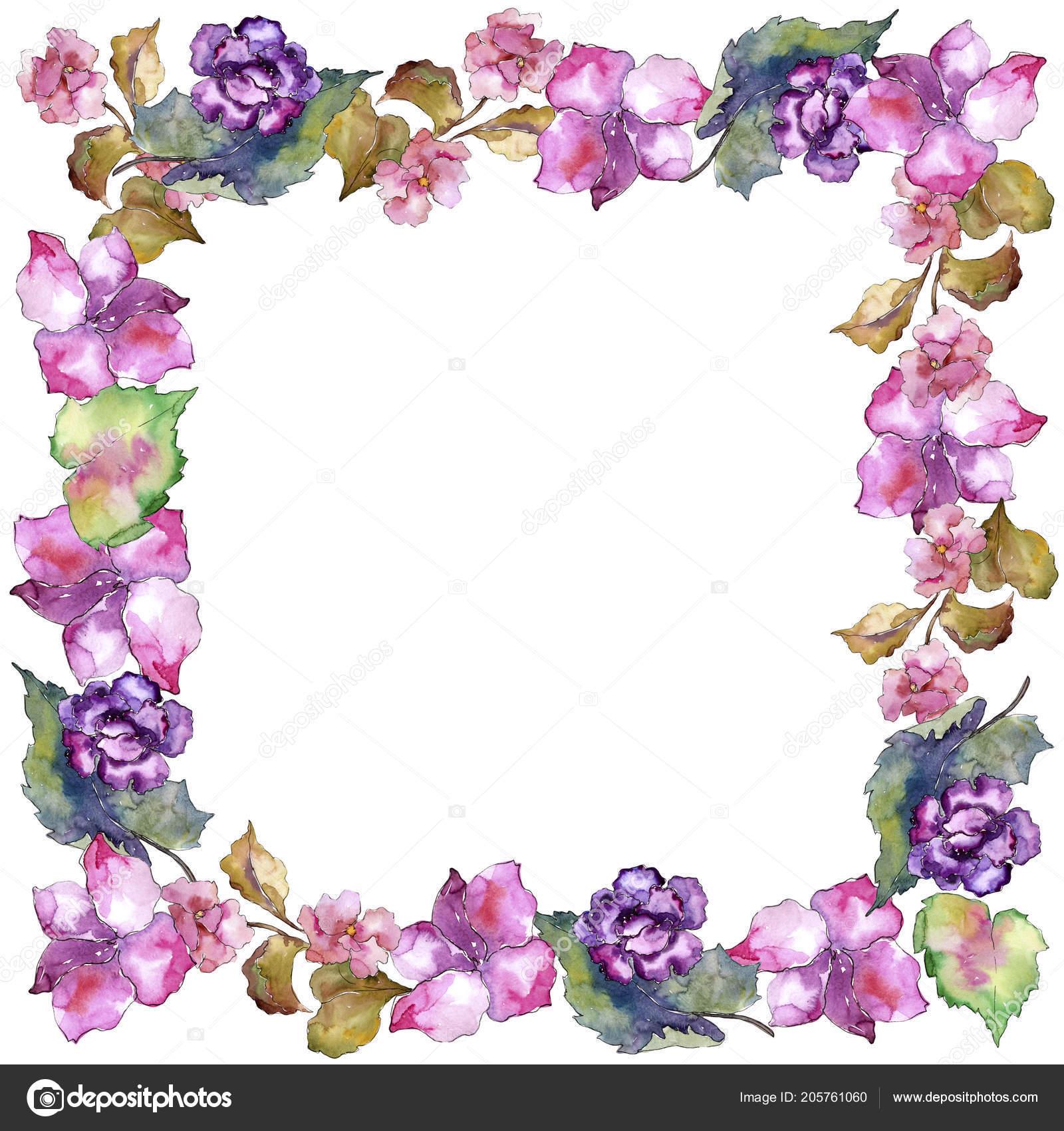 Pink Purple Gardania Floral Botanical Flower Frame Border Ornament