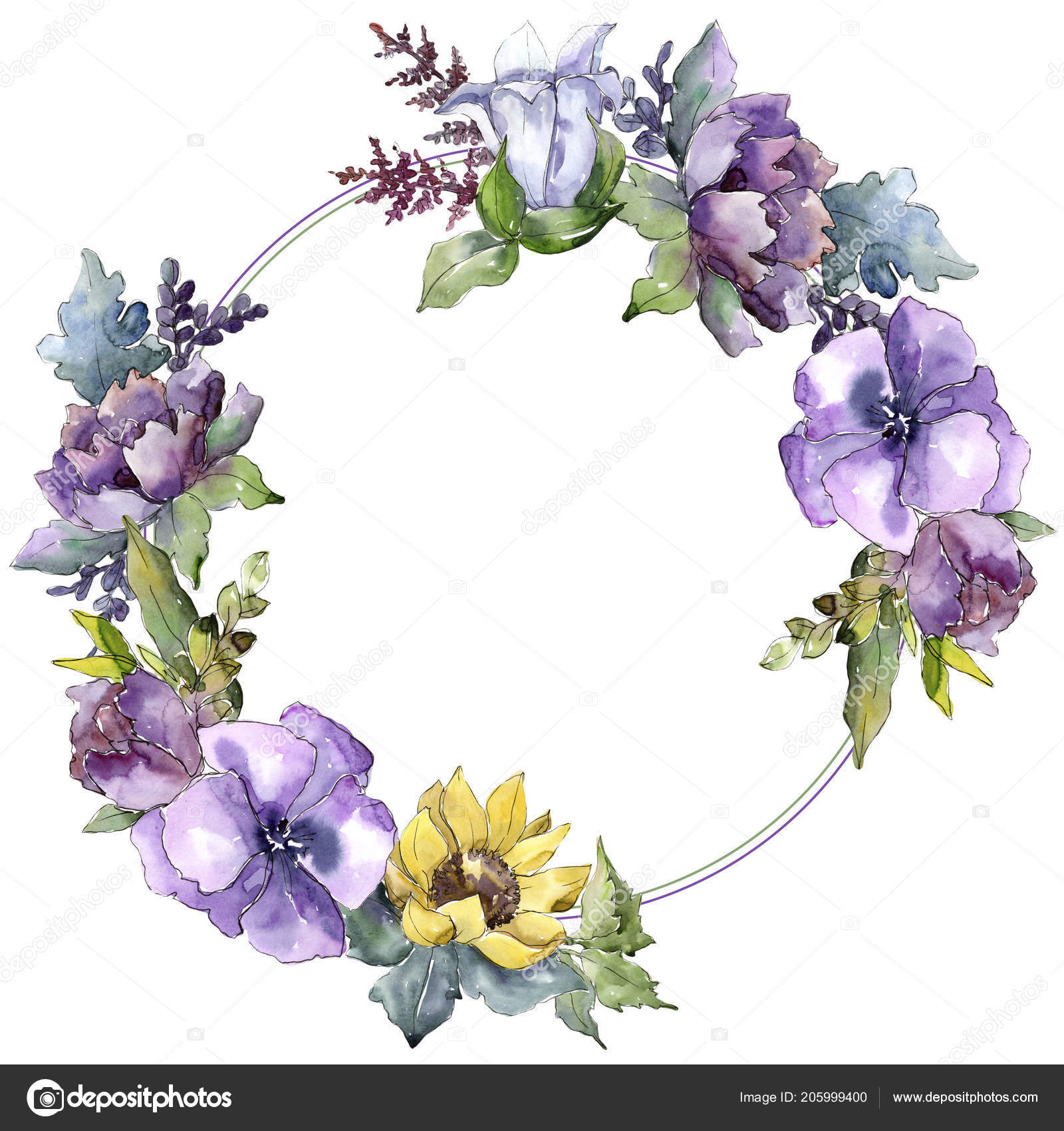 Watercolor Bouquet Flowers Floral Botanical Flower Frame Border