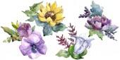 Akvarelu kytici květin. Květinové botanické květin. Izolované ilustrace prvek