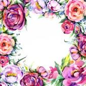 Fotografie Watercolor bouquet pink peony flowes. Floral botanical flower. Frame border ornament square.