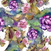 Rózsaszín és lila gardania. Virágos botanikai virág. Varratmentes háttérben minta.