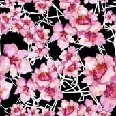 Fotografia Gardania rosa e viola. Botanico floreale. Reticolo senza giunte della priorità bassa. Struttura di stampa carta da parati di tessuto. Wildflower Aquarelle per sfondo, texture, pattern di wrapper, telaio o bordo