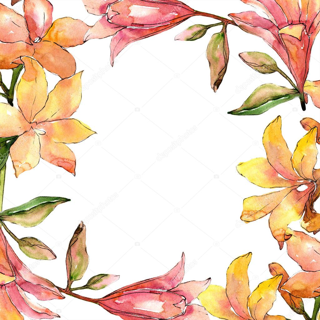 Watercolor orange amaryllis. Floral botanical flower. Frame border ornament square.