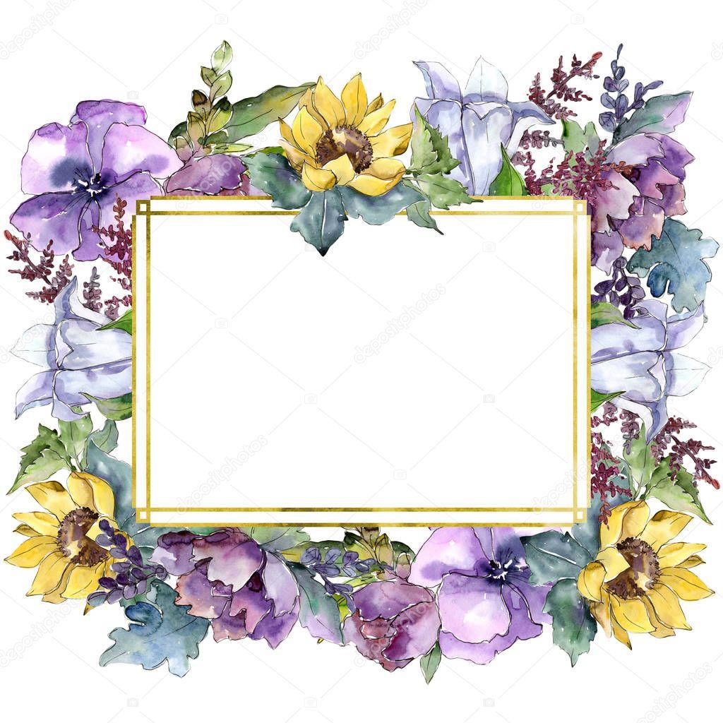 Watercolor bouquet flowers. Floral botanical flower. Frame border ornament square.