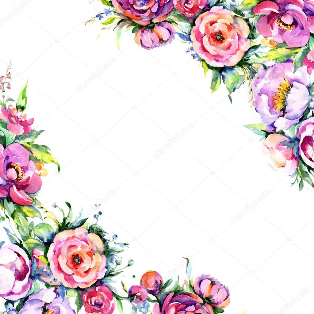 Watercolor bouquet pink peony flowes. Floral botanical flower. Frame border ornament square.