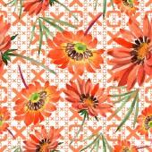 Fotografia Fiori di gazania arancione dellacquerello. Botanico floreale. Reticolo senza giunte della priorità bassa