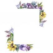 Akvarelu kytici květin. Květinové botanické květin. Frame hranice ozdoba náměstí. Celé jméno rostliny: slunečnice, pivoňka, lnu. Aquarelle wildflower pro pozadí, textura, rám nebo hranice