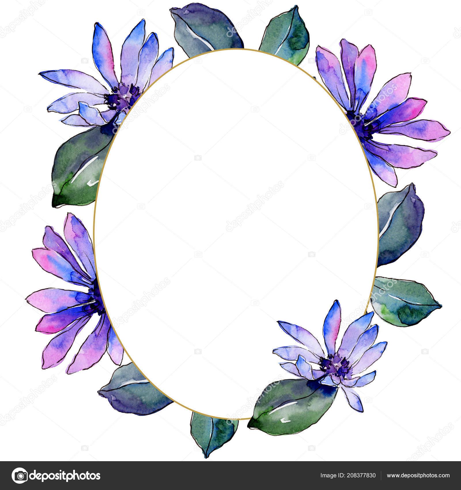 Watercolor purple african daisy floral botanical flower frame border watercolor purple african daisy floral botanical flower frame border ornament stock photo izmirmasajfo