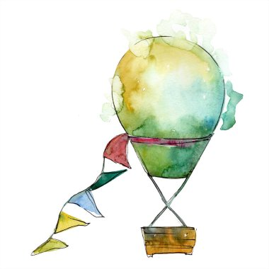 Green hot air balloon background fly air transport illustration.