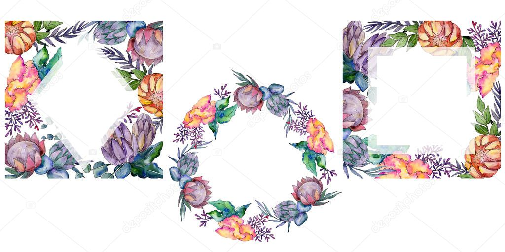 Watercolor colorful bouquet flowers. Frame border ornament square.