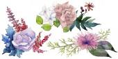 Akvarelu růžové kytici květin. Květinové botanické květin. Izolované ilustrace prvek. Aquarelle wildflower pro pozadí, textura, souhrnný vzorek, rám nebo hranice