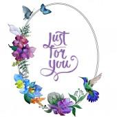 Akvarelu modré a fialové květy. Květinové botanické květin. Izolované ilustrace prvek. Aquarelle wildflower pro pozadí, textura, souhrnný vzorek, rám nebo hranice