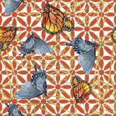 Egzotikus lepkék vadon élő rovarok akvarell stílusú. Varratmentes háttérben minta. Szövet nyomtatási textúrát. Az Aquarelle vadon élő rovar a háttér textúra, burkoló minta vagy tetoválás
