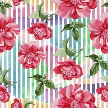 Watercolor pink camellia climbing flower. Floral botanical flower. Seamless background pattern. Fabric wallpaper print texture. Aquarelle wildflower for background, texture, wrapper pattern, border. stock vector