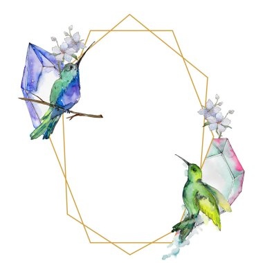 Sky bird colorful colibri in a wildlife by watercolor style. Frame border ornament square. Wild freedom, bird with a flying wings. Aquarelle bird for background, texture, frame, border or tattoo.