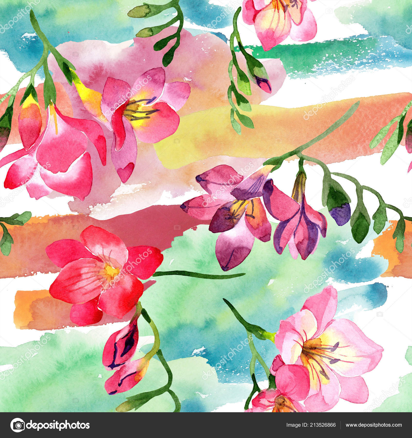 Watercolor Pink Freesia Flower Floral Botanical Flower