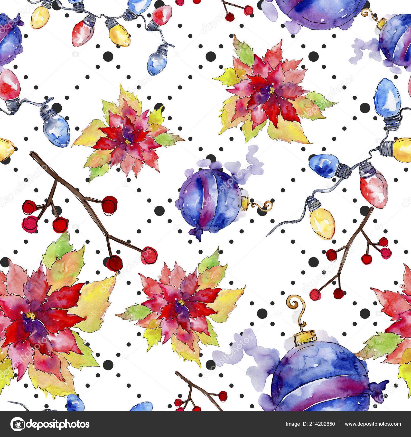 Christmas Fabric 2019.Christmas Winter Holiday Symbol Watercolor Style Seamless