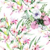 Akvarell színes csokor alstroemeria virág. Virágos botanikai virág. Varratmentes háttérben minta. Szövet nyomtatási textúrát. A háttér, a textúra, a burkoló minta Aquarelle vadvirág