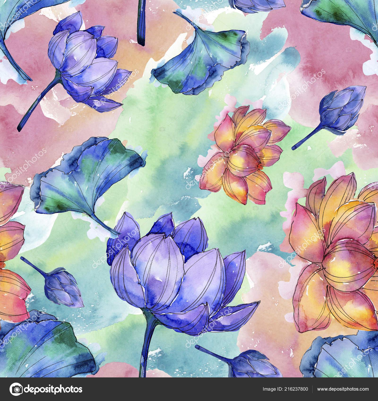 Wildflower Watercolor Colorful Lotus Flower Floral Botanical