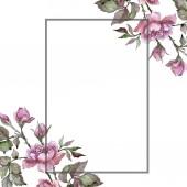 Fotografie Akvarelu růžová kytice Pivoňka květ. Květinové botanické květin. Frame hranice ozdoba náměstí. Aquarelle wildflower pro pozadí, textura, souhrnný vzorek, rám nebo hranice