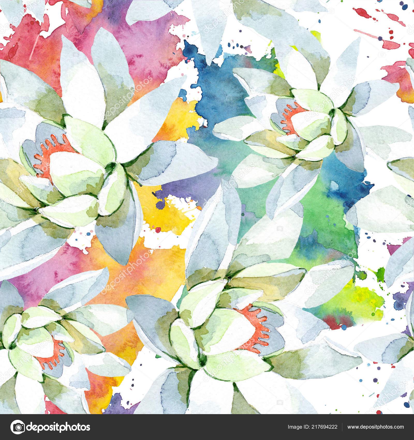 Watercolor White Lotus Flower Floral Botanical Flower