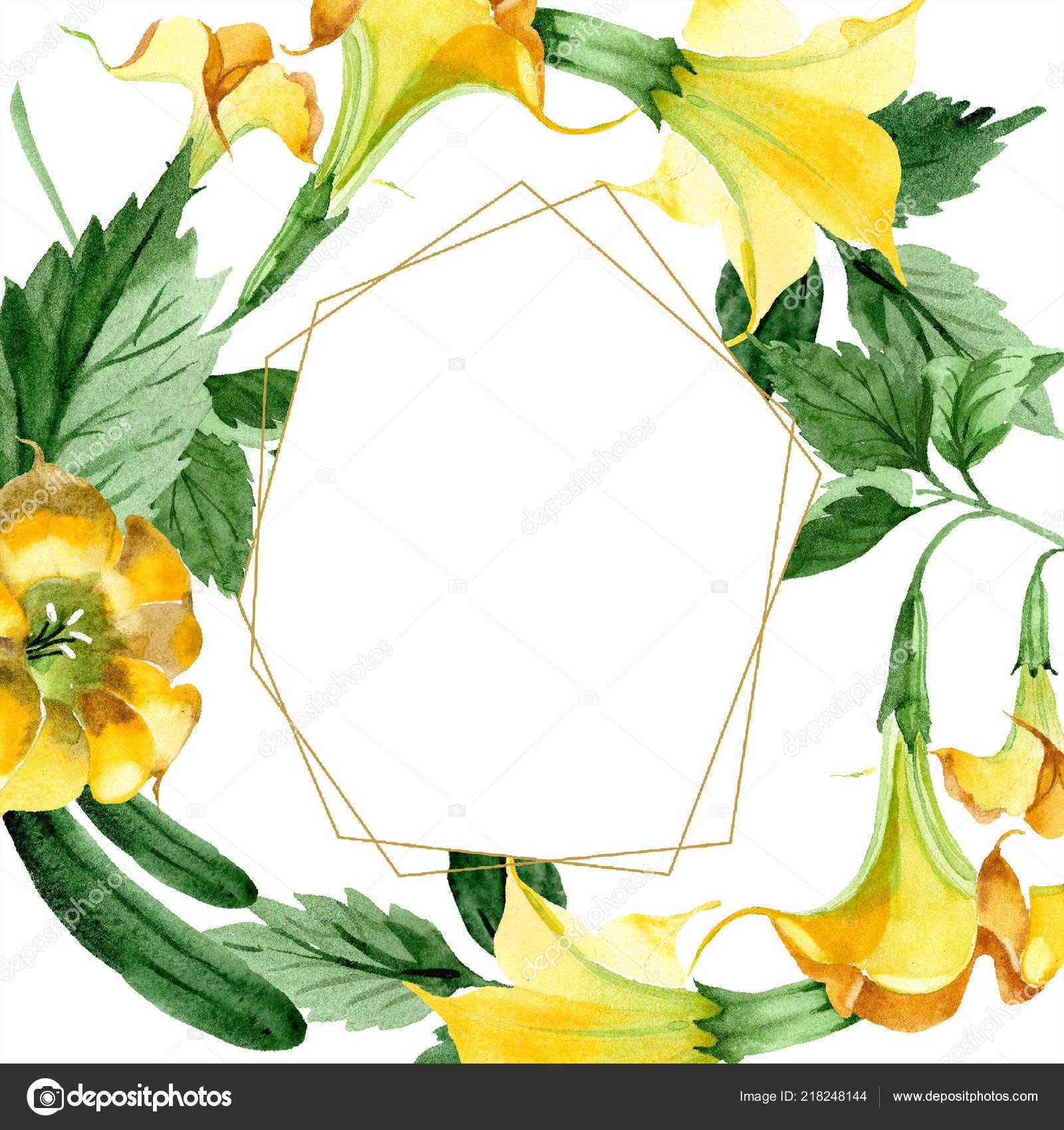 Watercolor Brugmansiya Yellow Flowers Floral Botanical Flower Frame