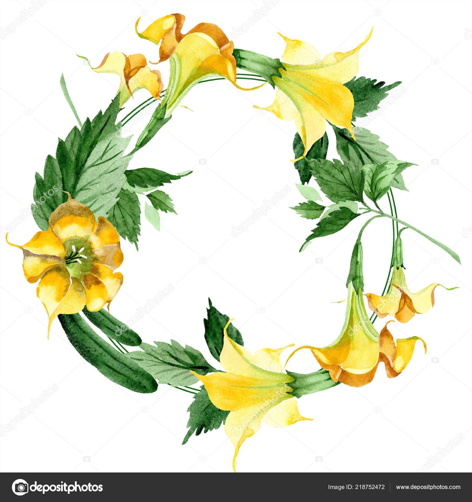 watercolor brugmansiya yellow flowers floral botanical flower frame border ornament stock photo c mystocks 218752472 https depositphotos com 218752472 stock photo watercolor brugmansiya yellow flowers floral html