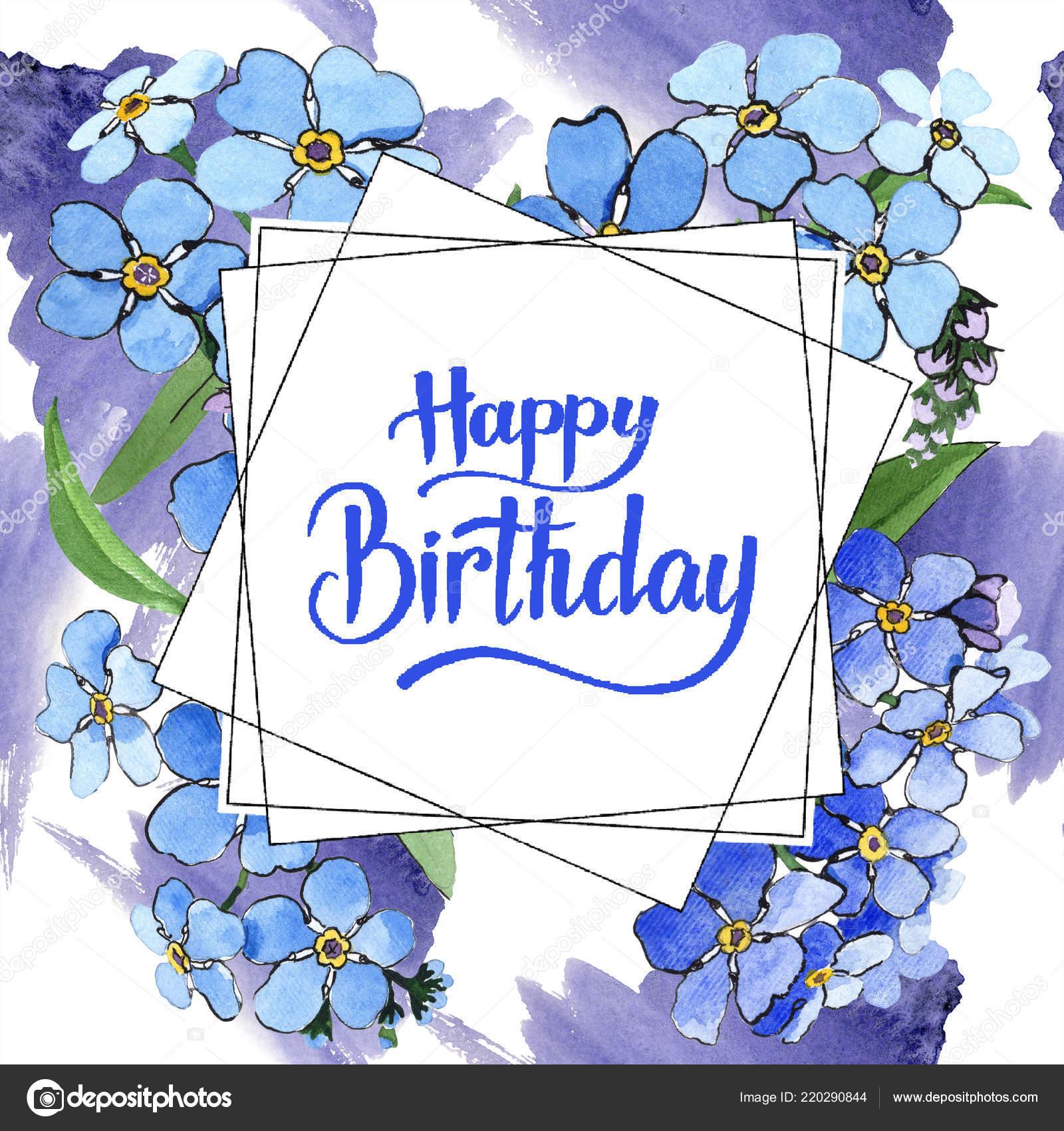 Coloriage Fleur Myosotis.Aquarelle Bleue Myosotis Fleur Botanique Floral Carre Cadre Bordure