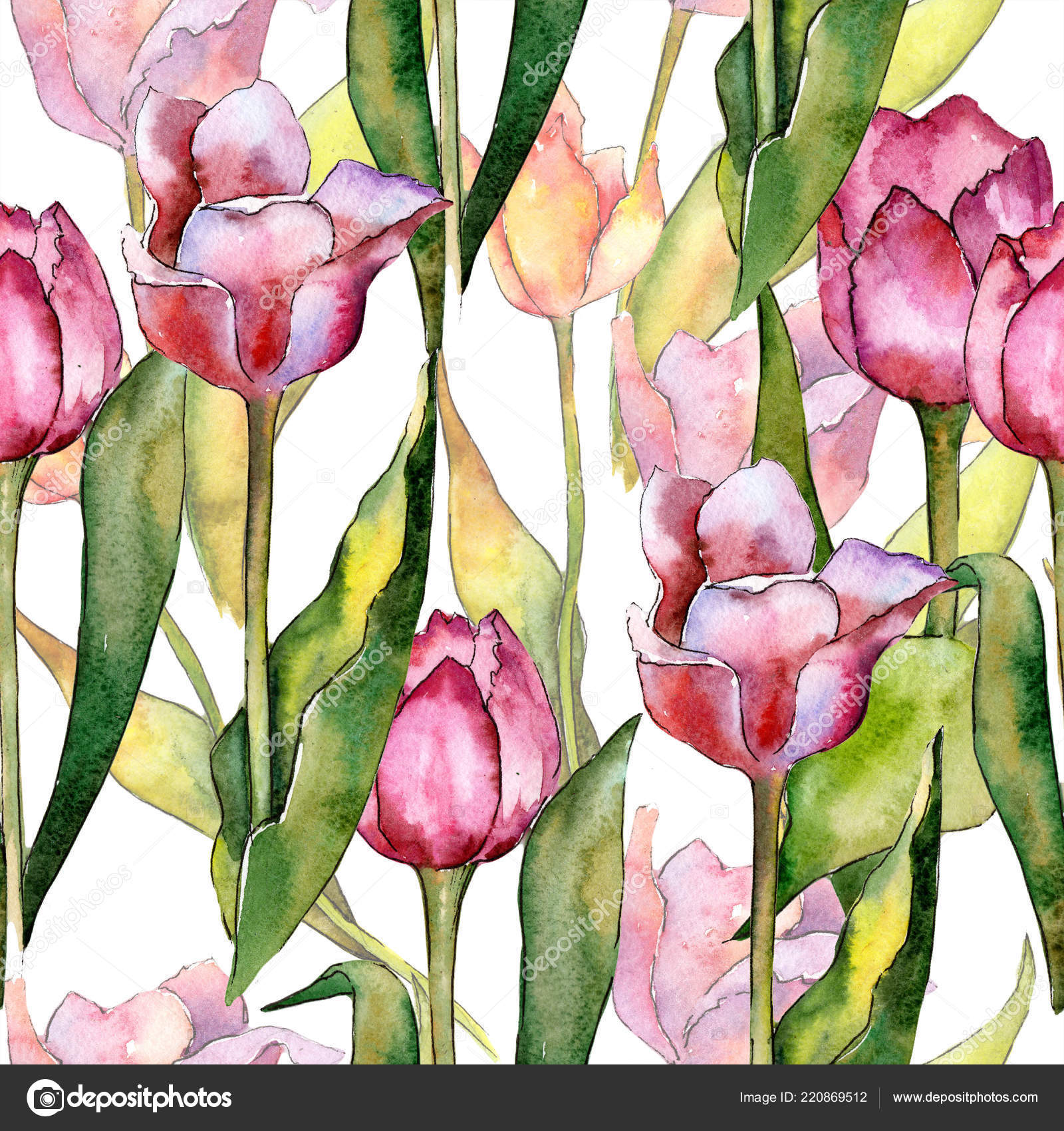 Tulips Floral Watercolor Painting Art Print by DJR