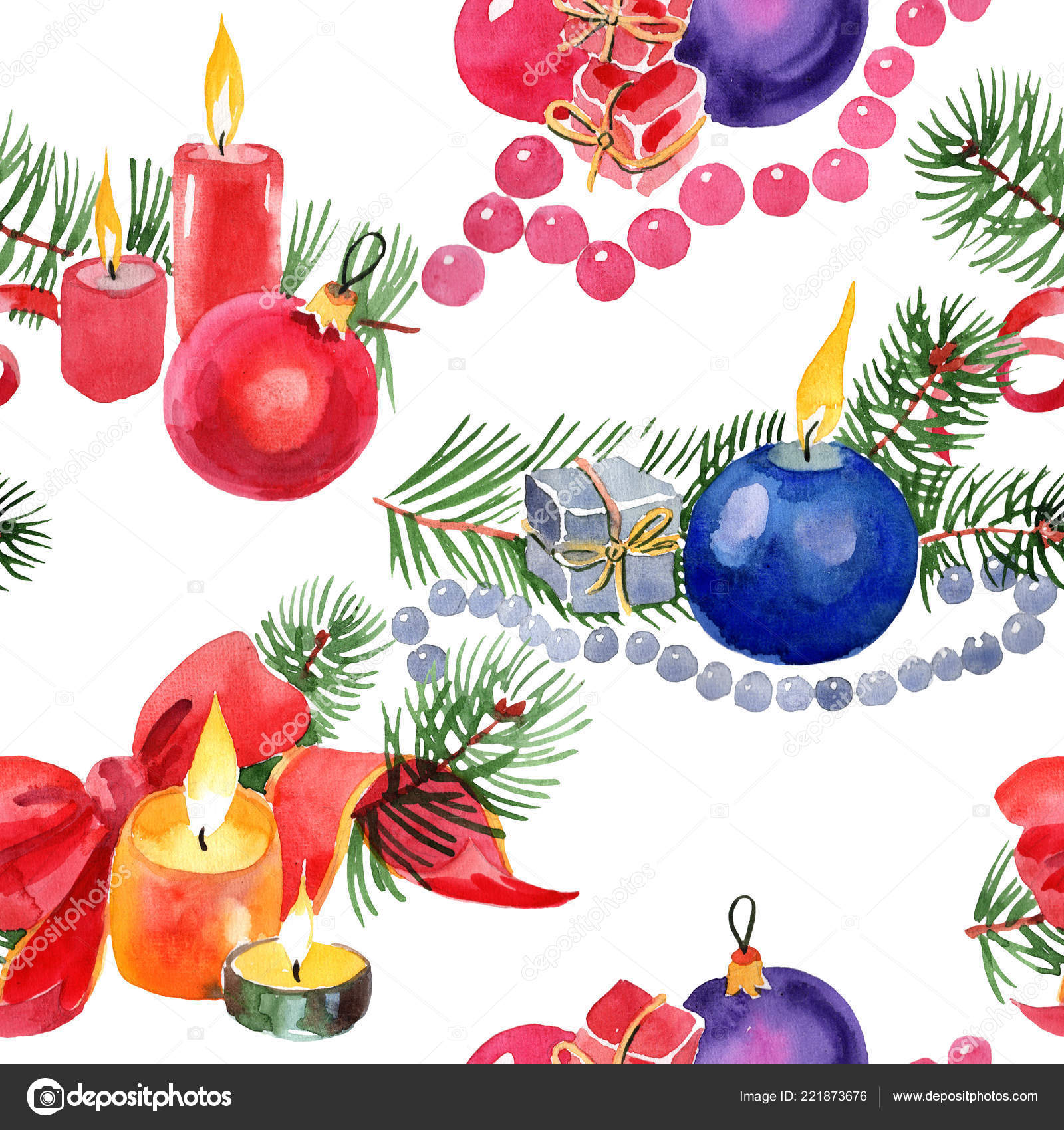 Christmas Winter Holiday Candles And Christmas Toys In A Watercolor