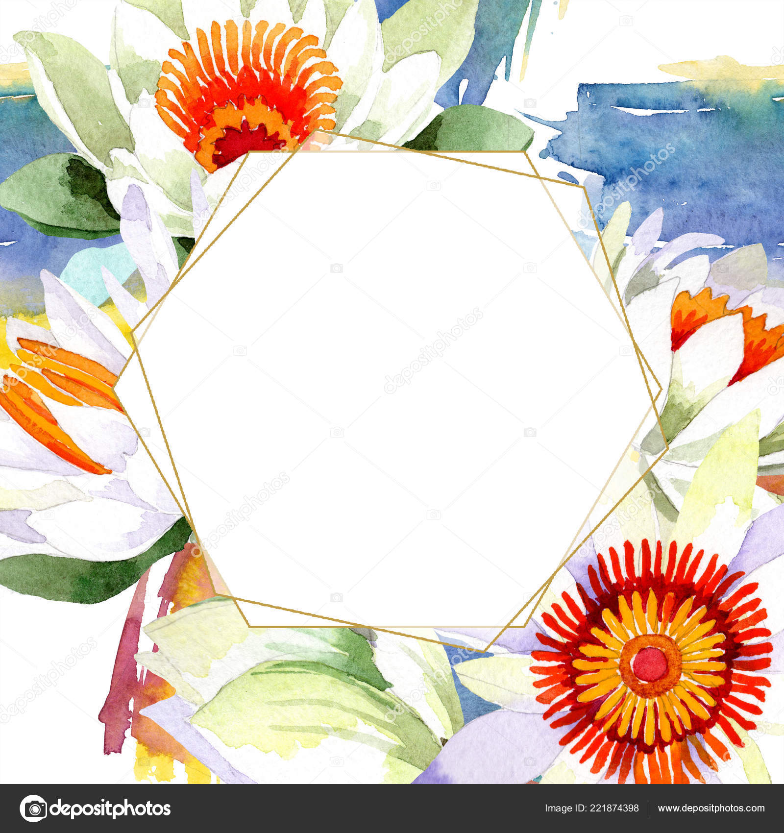 Watercolor white lotus flower. Floral botanical flower. Frame border ...