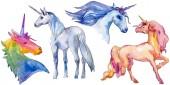 Roztomilý jednorožec koně. Pohádka děti sladký sen. Rainbow zvířecí roh charakter. Izolované ilustrace prvek