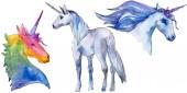 Photo Cute unicorn horse. Fairytale children sweet dream. Rainbow animal horn character. Isolated illustration element.