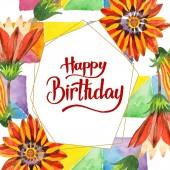 Narancssárga gazania virág. Boldog születésnapot kézírás monogram kalligráfia. Akvarell háttér, a keret vagy a határon.