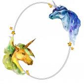 Fotografia Cavallo dellunicorno carino. Insieme di illustrazione dellacquerello della priorità bassa. Quadrato di ornamento del bordo cornice acquerello