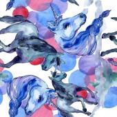 Aranyos egyszarvú. Akvarell illusztráció készlet. Akvarell varratmentes háttérben minta. Anyagot a nyomtatási textúrát.