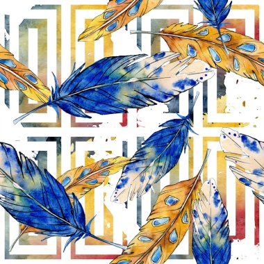 Watercolor bird feather from wing isolated. Aquarelle feather for background, texture, wrapper pattern, frame or border. Watercolour seamless background pattern. Fabric wallpaper print texture. stock vector