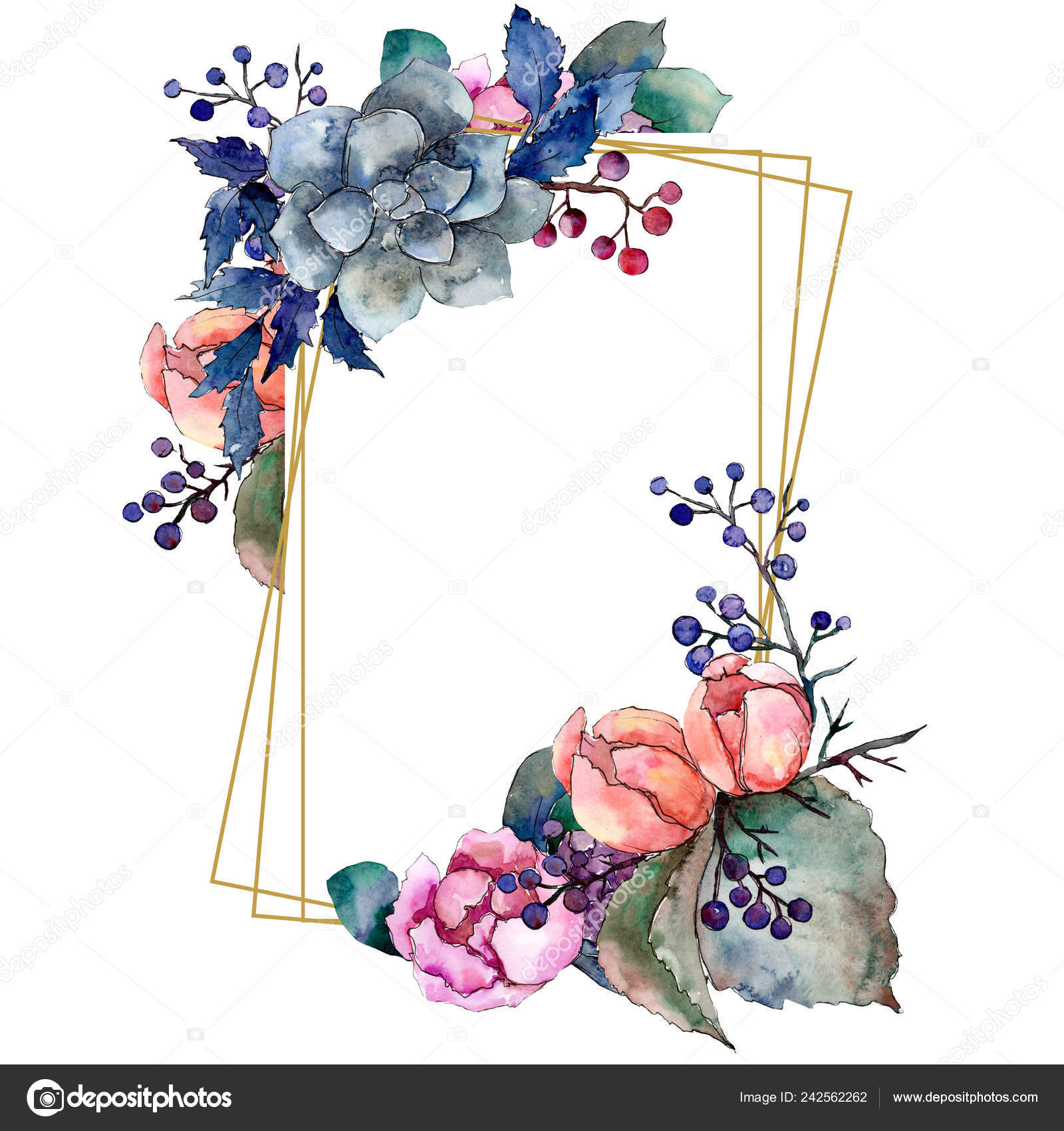 Peony And Succulent Bouquet Floral Flower Watercolor Background Illustration Set Frame Border Ornament Square Stock Photo Image By C Mystocks 242562262