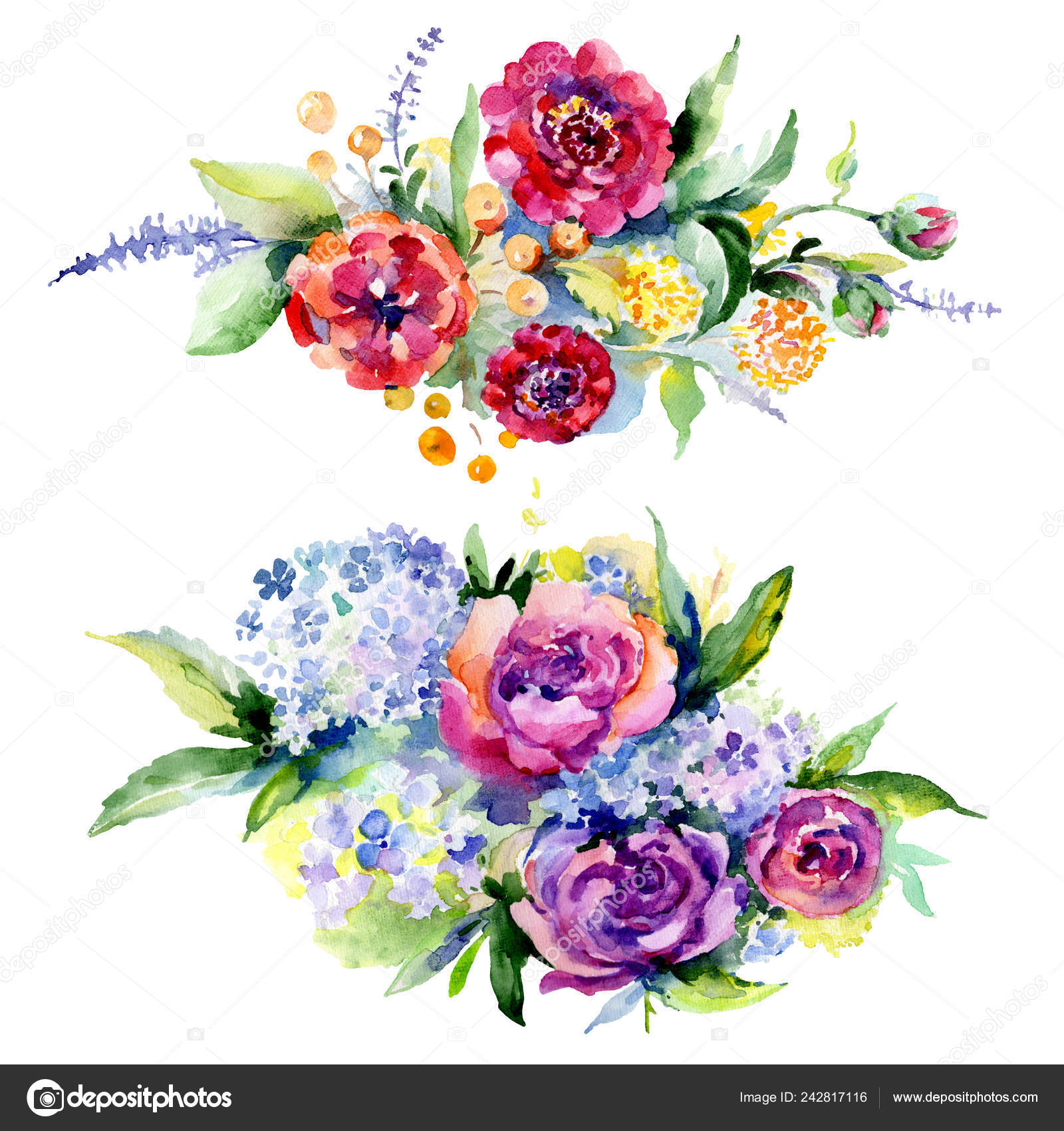 Bouquets Floral Botanical Flower Watercolor Background
