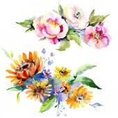 Kytice květinové botanické květin. Sada akvarel pozadí obrázku. Prvek ilustrace izolované kytice
