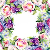 Fotografie Bouquets floral botanical flower. Watercolor background illustration set. Frame border ornament square.